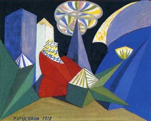 Giacomo Balla, Ontwerpschets voor een ballet bij Feu d'artifice van Igor Stravinsky, 1915