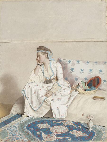 Jean-Etienne Liotard, Portret de echtgenote van de kunstenaar, in Turks kostuum, 1756 - 1758