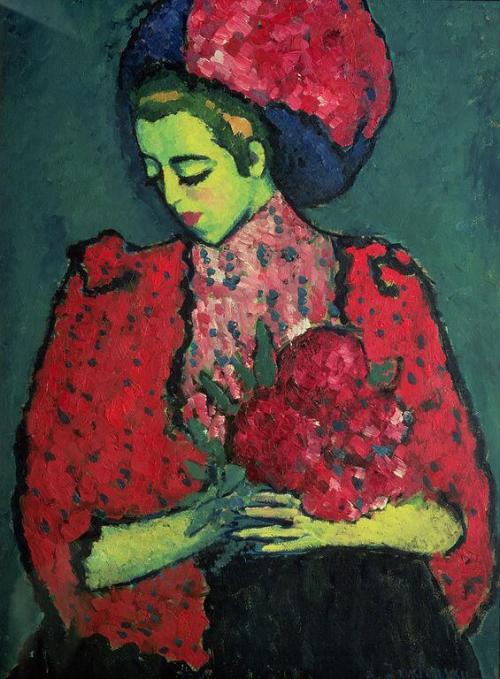Alexej von Jawlensky, Jonge vrouw met pioenrozen, 1909