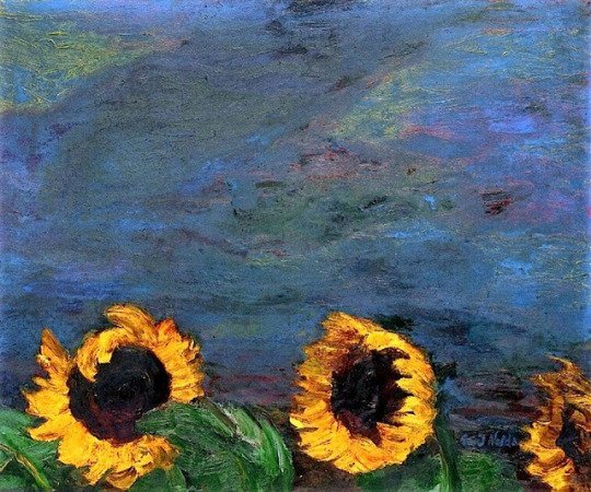 Blue Sky and Sunflowers (1928)_Emil Nolde